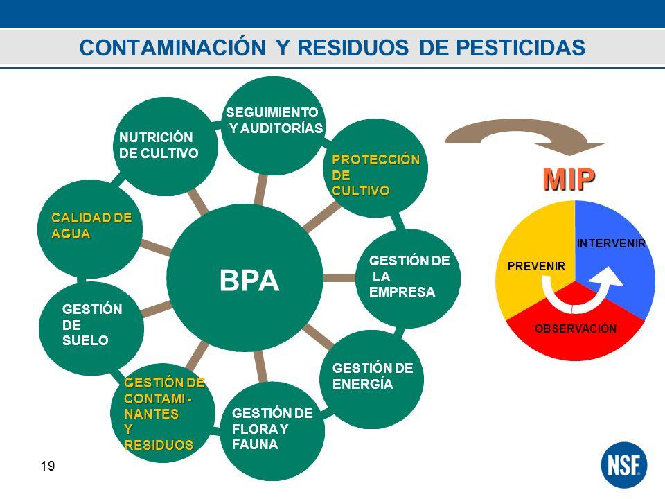 CONTAMINACIÓN Y RESIDUOS DE PESTICIDAS 19 BPA SEGUIMIENTO Y AUDITORÍAS GESTIÓN DE LA EMPRESA GESTIÓN DE CONTAMI - NANTES YRESIDUOS GESTIÓN DE ENERGÍA