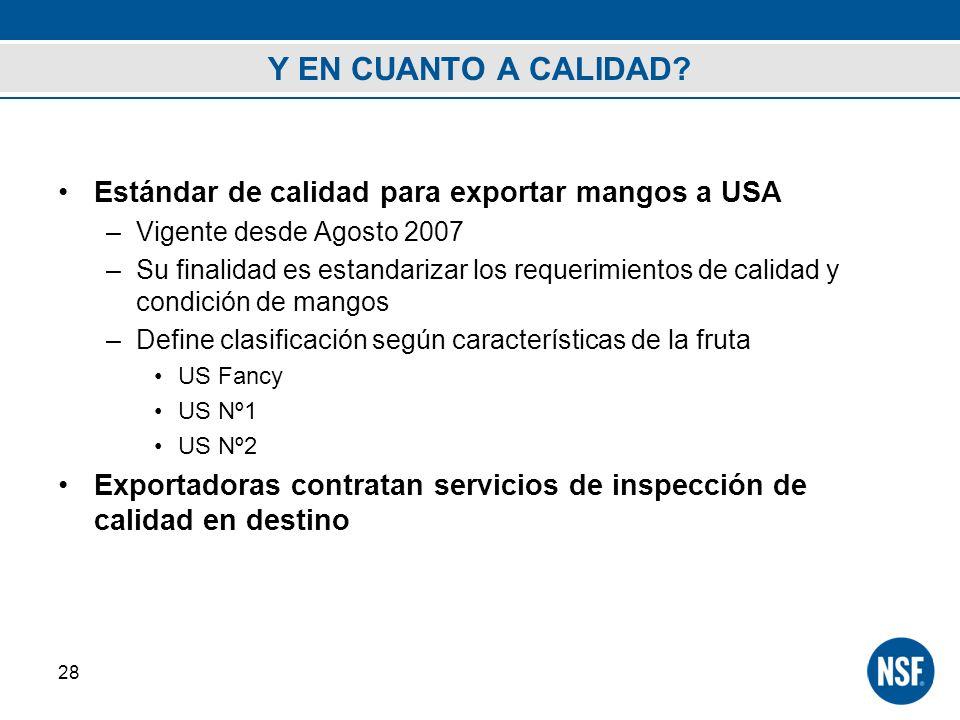 Y EN CUANTO A CALIDAD? Estándar de calidad para exportar mangos a USA –Vigente desde Agosto 2007 –Su finalidad es estandarizar los requerimientos de c