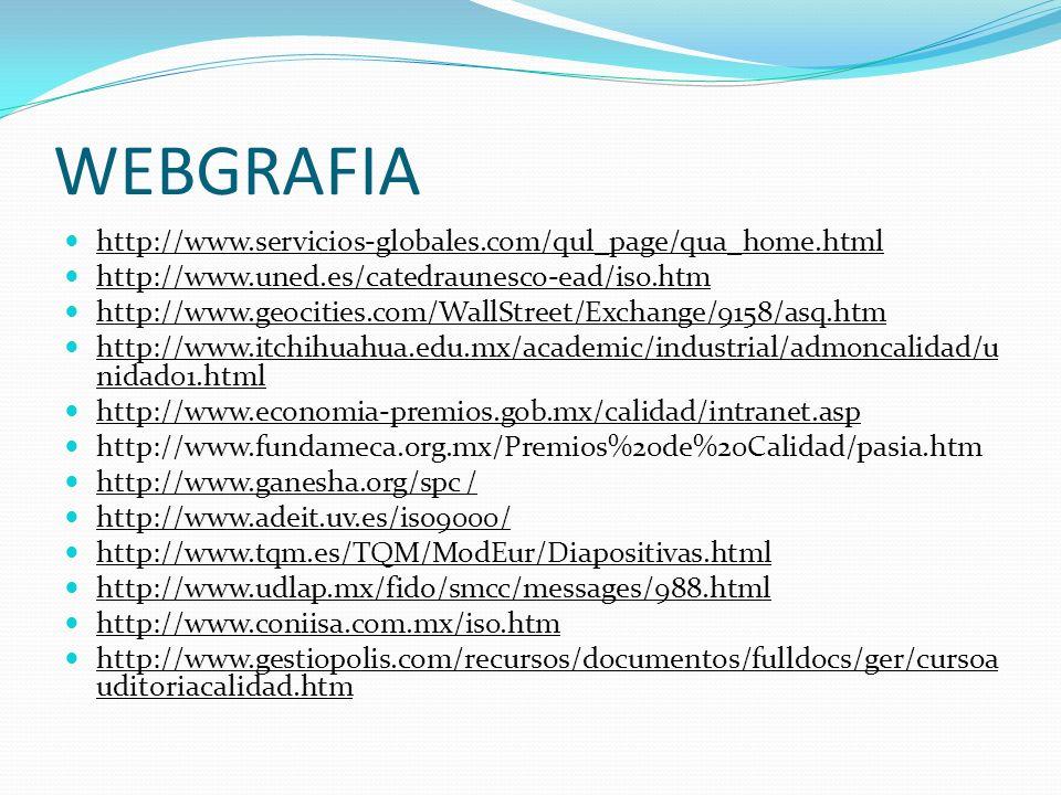 WEBGRAFIA http://www.servicios-globales.com/qul_page/qua_home.html http://www.uned.es/catedraunesco-ead/iso.htm http://www.geocities.com/WallStreet/Ex