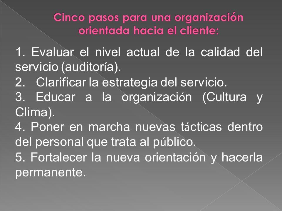 1. Evaluar el nivel actual de la calidad del servicio (auditor í a). 2. Clarificar la estrategia del servicio. 3. Educar a la organizaci ó n (Cultura