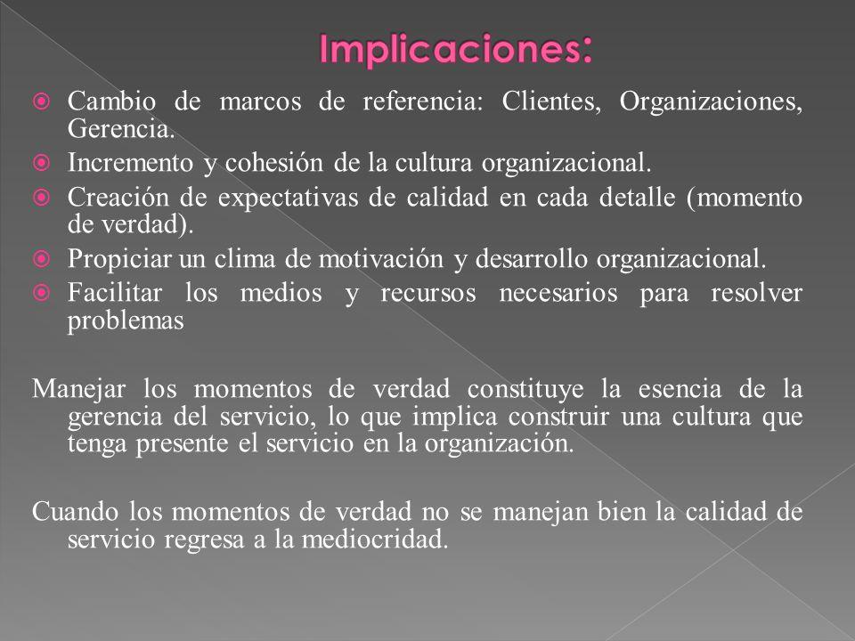 Cambio de marcos de referencia: Clientes, Organizaciones, Gerencia. Incremento y cohesión de la cultura organizacional. Creación de expectativas de ca