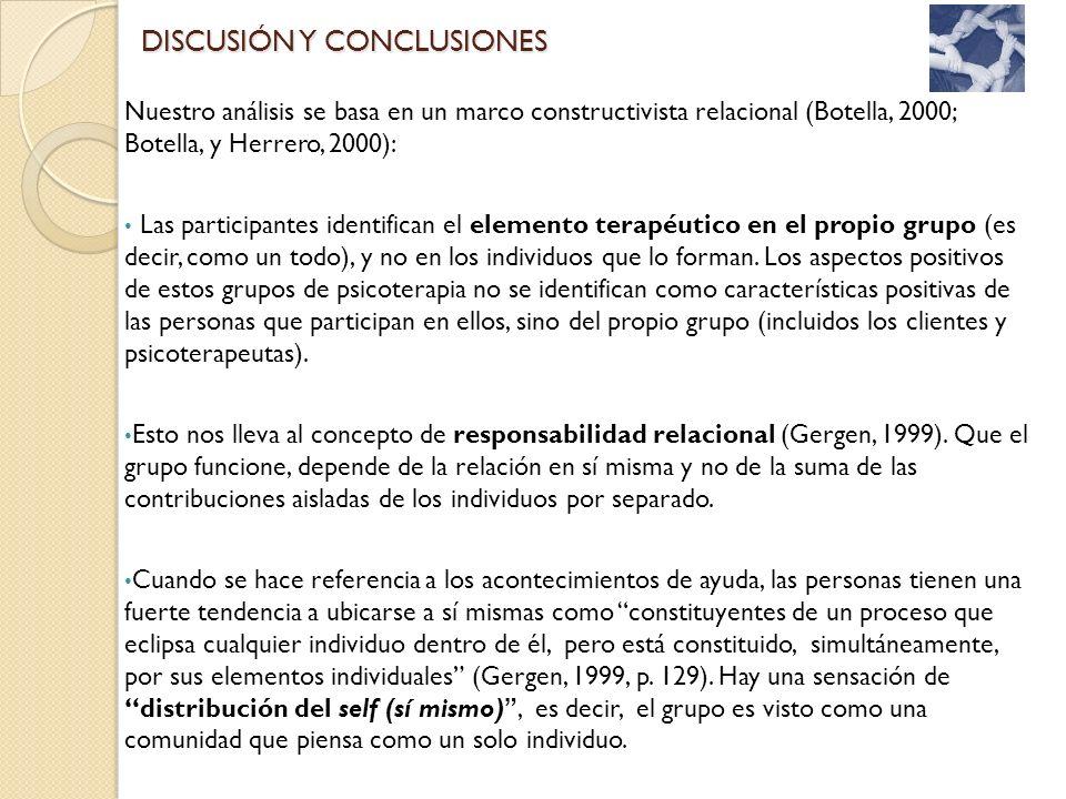 Nuestro análisis se basa en un marco constructivista relacional (Botella, 2000; Botella, y Herrero, 2000): Las participantes identifican el elemento t