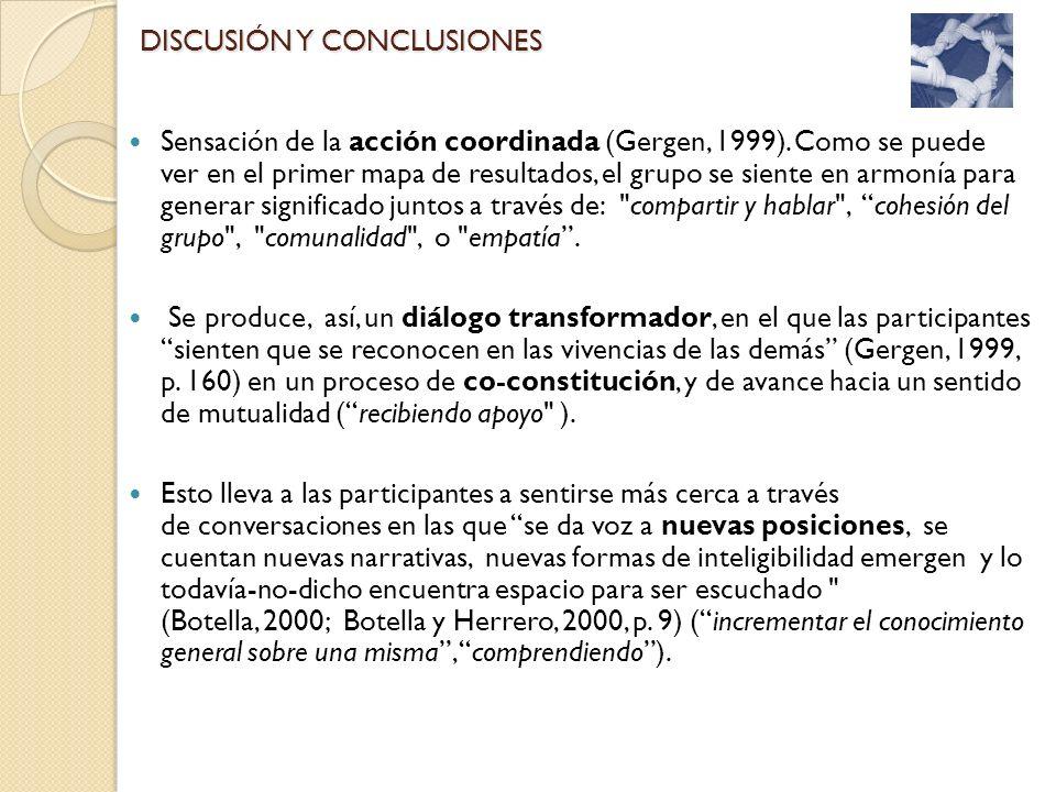 Sensación de la acción coordinada (Gergen, 1999). Como se puede ver en el primer mapa de resultados, el grupo se siente en armonía para generar signif