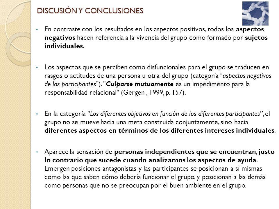 En contraste con los resultados en los aspectos positivos, todos los aspectos negativos hacen referencia a la vivencia del grupo como formado por suje