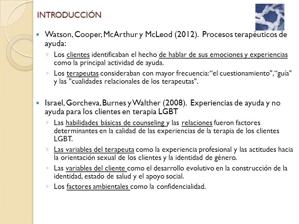 Watson, Cooper, McArthur y McLeod (2012). Procesos terapéuticos de ayuda: Los clientes identificaban el hecho de hablar de sus emociones y experiencia