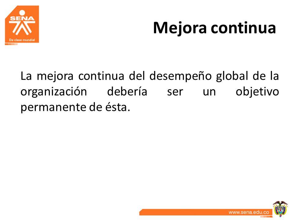 Mejora continua La mejora continua del desempeño global de la organización debería ser un objetivo permanente de ésta.