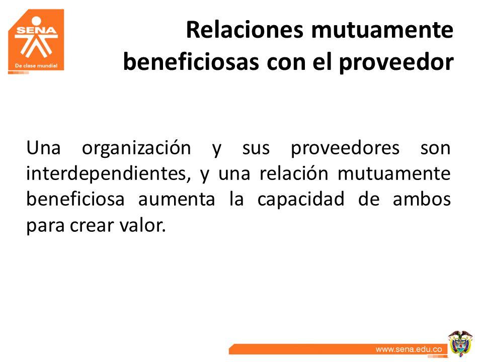Relaciones mutuamente beneficiosas con el proveedor Una organización y sus proveedores son interdependientes, y una relación mutuamente beneficiosa au