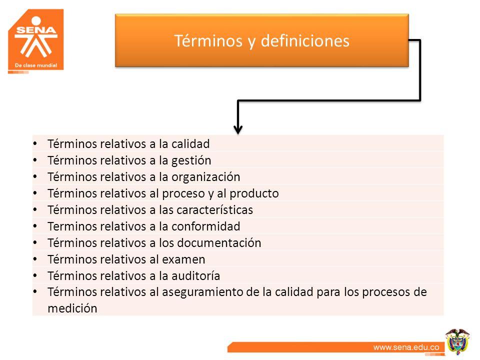 Términos y definiciones Términos relativos a la calidad Términos relativos a la gestión Términos relativos a la organización Términos relativos al pro