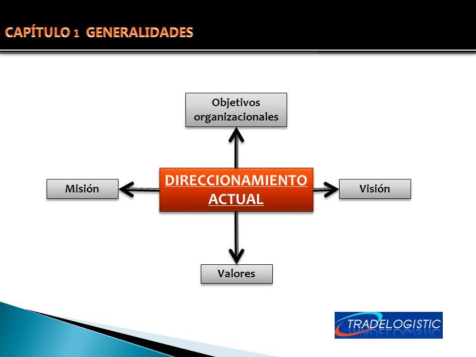 DIRECCIONAMIENTO ACTUAL Misión Visión Valores Objetivos organizacionales
