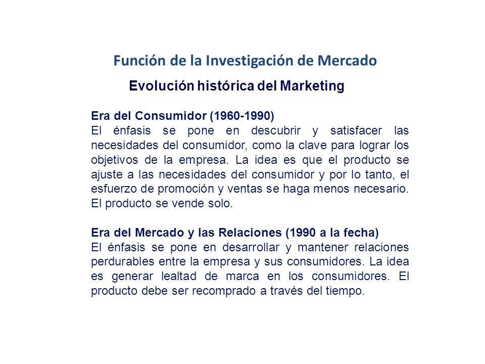 Función de la Investigación de Mercado Evolución histórica del Marketing Era del Producto (1840-1930) El énfasis se pone en la calidad del producto y