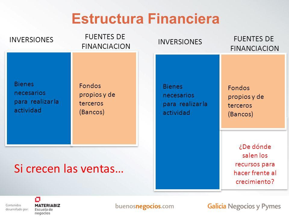 Estructura Financiera INVERSIONES FUENTES DE FINANCIACION Bienes necesarios para realizar la actividad Fondos propios y de terceros (Bancos) INVERSION
