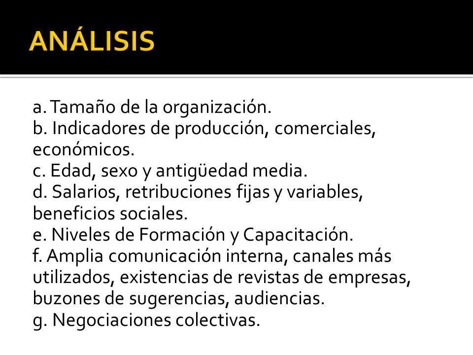 a.Tamaño de la organización. b. Indicadores de producción, comerciales, económicos.