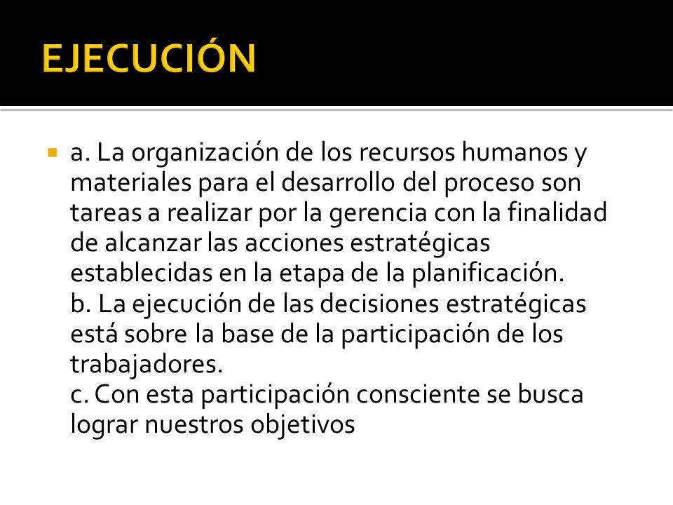 a. La organización de los recursos humanos y materiales para el desarrollo del proceso son tareas a realizar por la gerencia con la finalidad de alcan