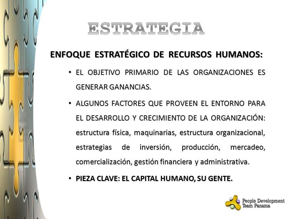 ENFOQUE ESTRATÉGICO DE RECURSOS HUMANOS: EL OBJETIVO PRIMARIO DE LAS ORGANIZACIONES ES GENERAR GANANCIAS.