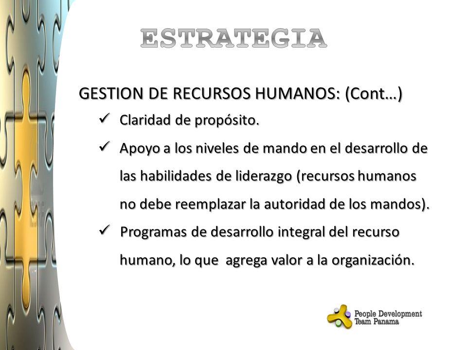 GESTION DE RECURSOS HUMANOS: (Cont…) Claridad de propósito.