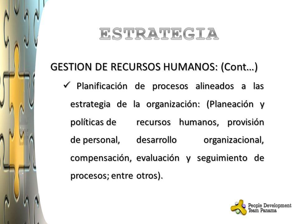 GESTION DE RECURSOS HUMANOS: (Cont…) Planificación de procesos alineados a las estrategia de la organización: (Planeación y políticas de recursos humanos, provisión de personal, desarrollo organizacional, compensación, evaluación y seguimiento de procesos; entre otros).