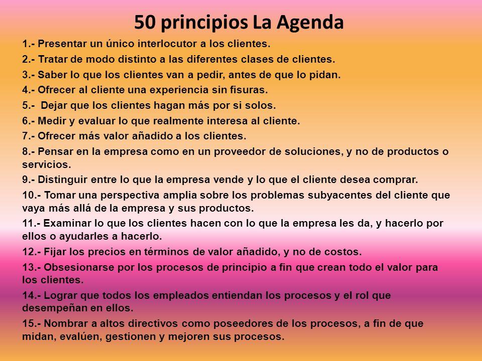 50 principios La Agenda 1.- Presentar un único interlocutor a los clientes. 2.- Tratar de modo distinto a las diferentes clases de clientes. 3.- Saber