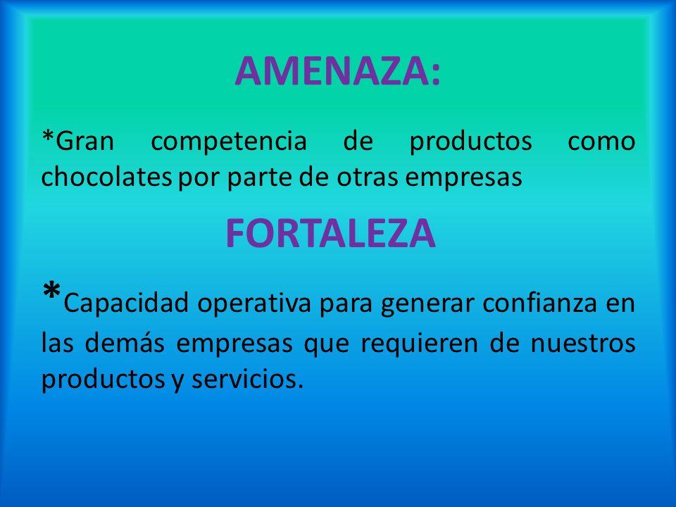 AMENAZA: *Gran competencia de productos como chocolates por parte de otras empresas FORTALEZA * Capacidad operativa para generar confianza en las demá