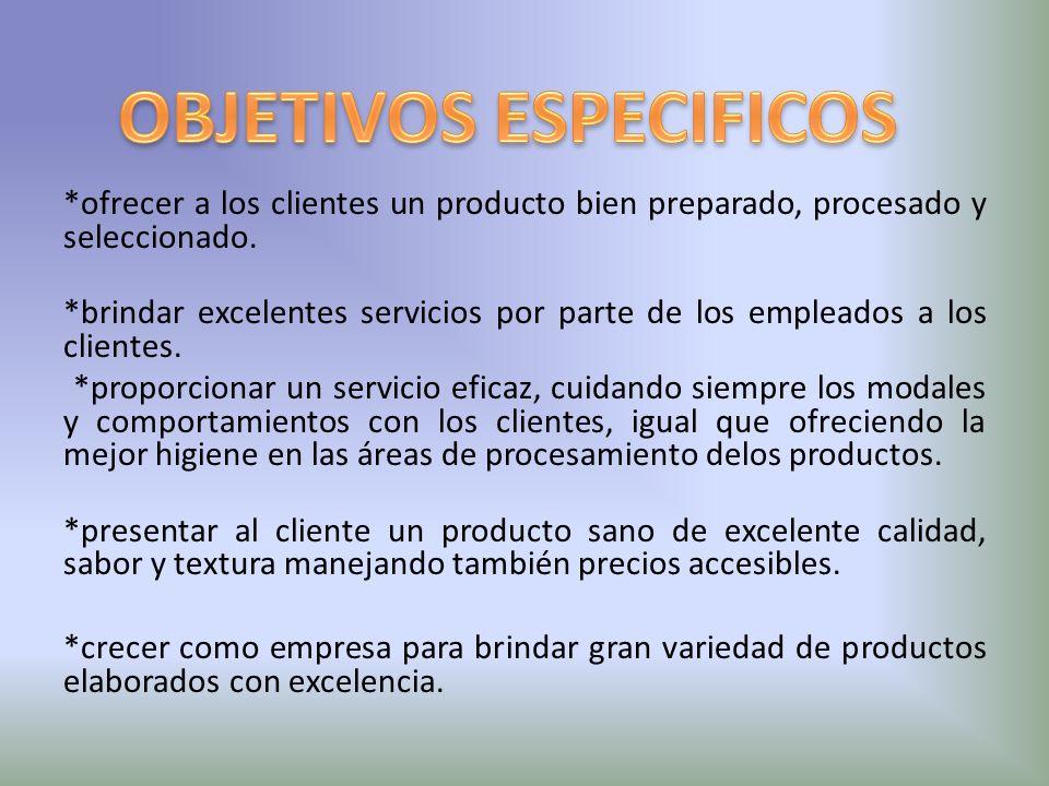 *ofrecer a los clientes un producto bien preparado, procesado y seleccionado. *brindar excelentes servicios por parte de los empleados a los clientes.