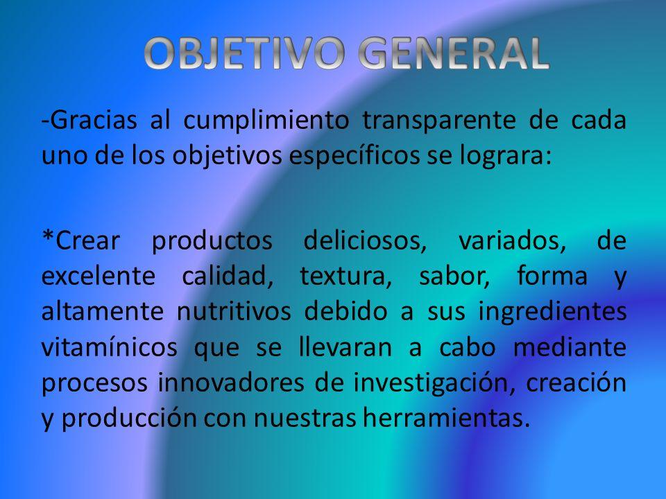 -Gracias al cumplimiento transparente de cada uno de los objetivos específicos se lograra: *Crear productos deliciosos, variados, de excelente calidad