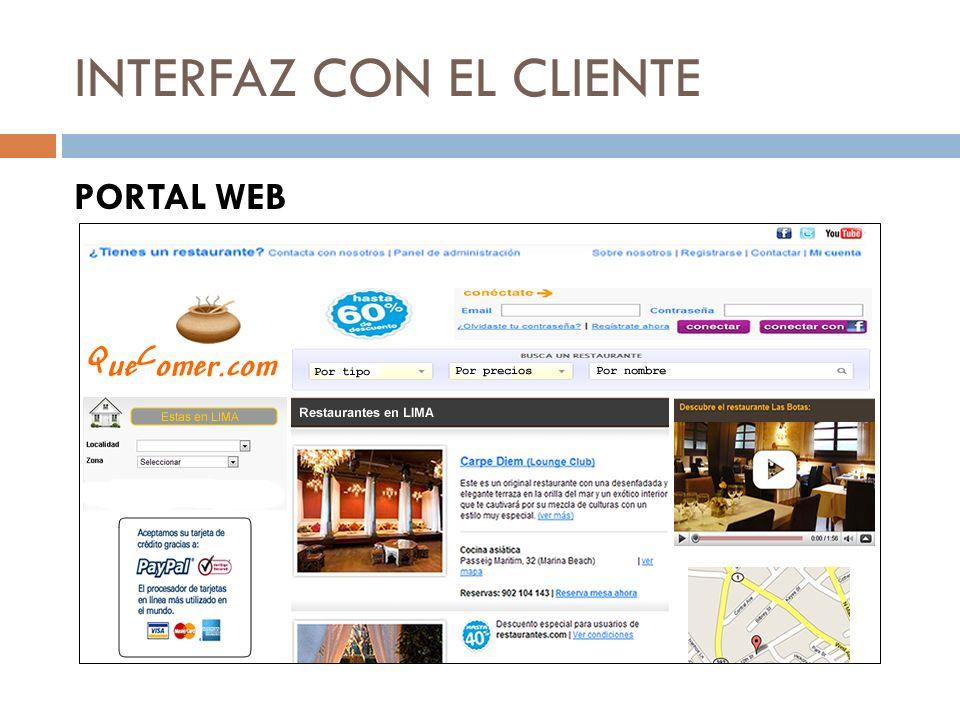 INTERFAZ CON EL CLIENTE PORTAL WEB