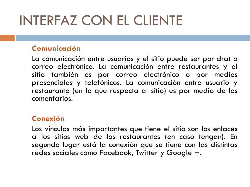 INTERFAZ CON EL CLIENTE Comunicación La comunicación entre usuarios y el sitio puede ser por chat o correo electrónico.