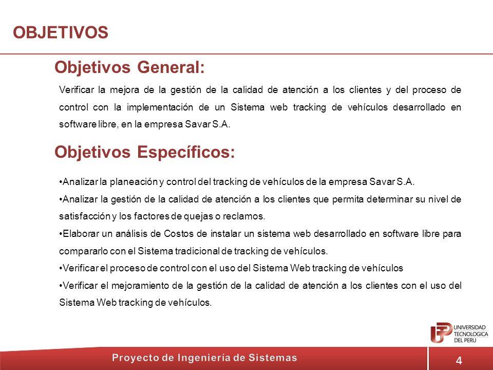4 OBJETIVOS Objetivos General: Verificar la mejora de la gestión de la calidad de atención a los clientes y del proceso de control con la implementaci