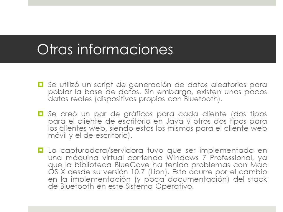 Otras informaciones Se utilizó un script de generación de datos aleatorios para poblar la base de datos.