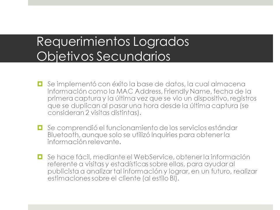 Requerimientos Logrados Resultados Esperados Aplicación servidora/capturadora de dispositivos Bluetooth implementada.