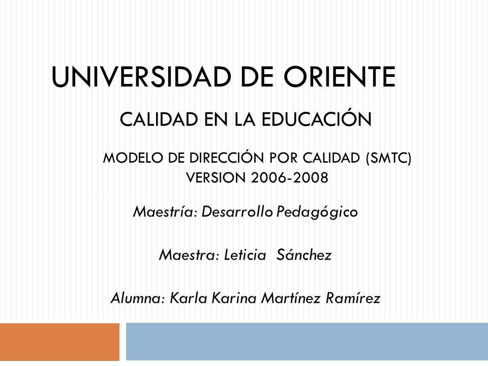 MODELO DE DIRECCIÓN POR CALIDAD (SMTC) VERSION 2006-2008 ORIGEN LA SOCIEDAD MEXICANA PARA EL DESARROLLO DE CALIDAD.