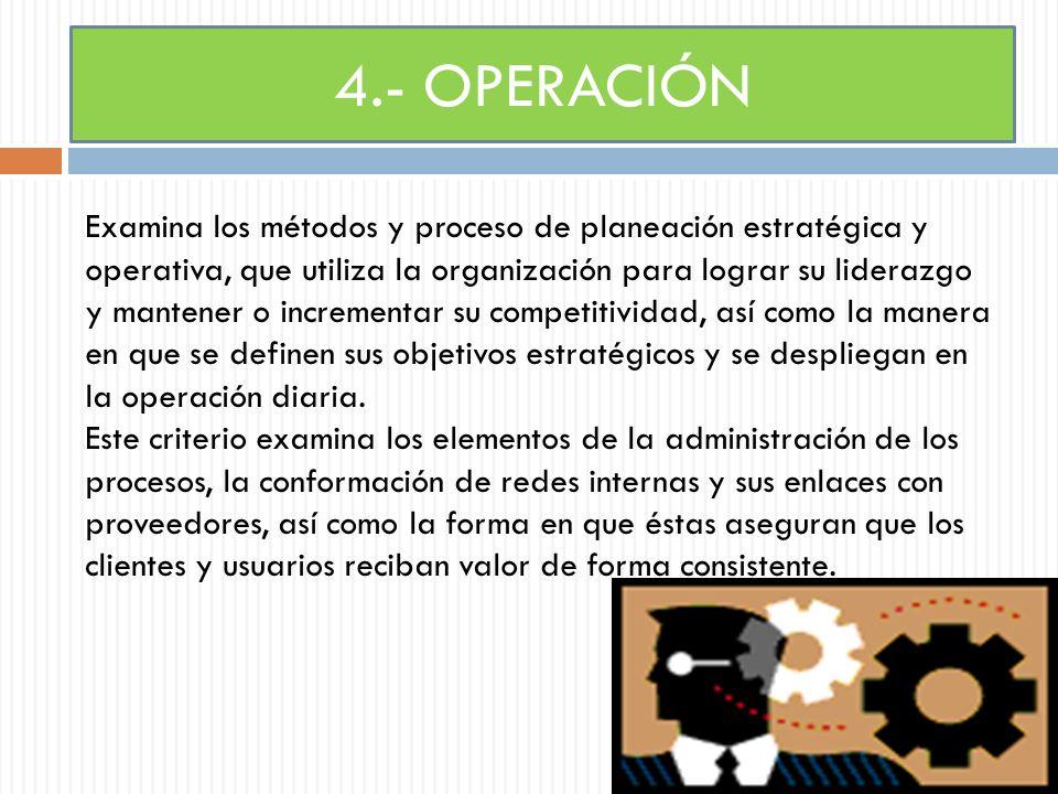 Subcriterios 4.1 Estrategias : examina cómo la organización elabora sus estrategias para mejorar su posición competitiva y asegurar su permanencia en el largo plazo.