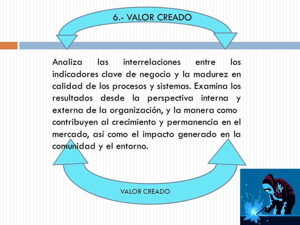 SUBCRITERIOS 6.1 VALOR CREADO AL ENTORNO : EXAMINA LOS RESULTADOS DESDE LA PERSPECTIVA EXTERNA DE LA ORGANIZACIÓN, LA RELACIÓN ENTRE LOS INDICADORES CLAVE DE NEGOCIO Y EL VALOR CREADO A CLIENTES Y LA COMUNIDAD.
