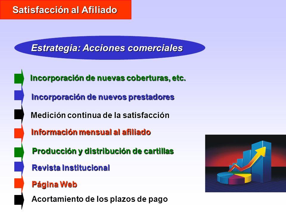 Satisfacción al Afiliado Estrategia: Acciones comerciales Incorporación de nuevas coberturas, etc. Acortamiento de los plazos de pago Página Web Revis
