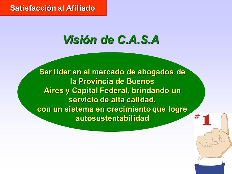 Visión de C.A.S.A Ser líder en el mercado de abogados de la Provincia de Buenos Aires y Capital Federal, brindando un servicio de alta calidad, con un