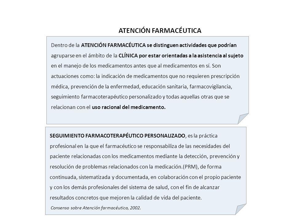 Dentro de la ATENCIÓN FARMACÉUTICA se distinguen actividades que podrían agruparse en el ámbito de la CLÍNICA por estar orientadas a la asistencia al