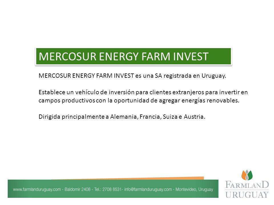 MERCOSUR ENERGY FARM INVEST es una SA registrada en Uruguay.