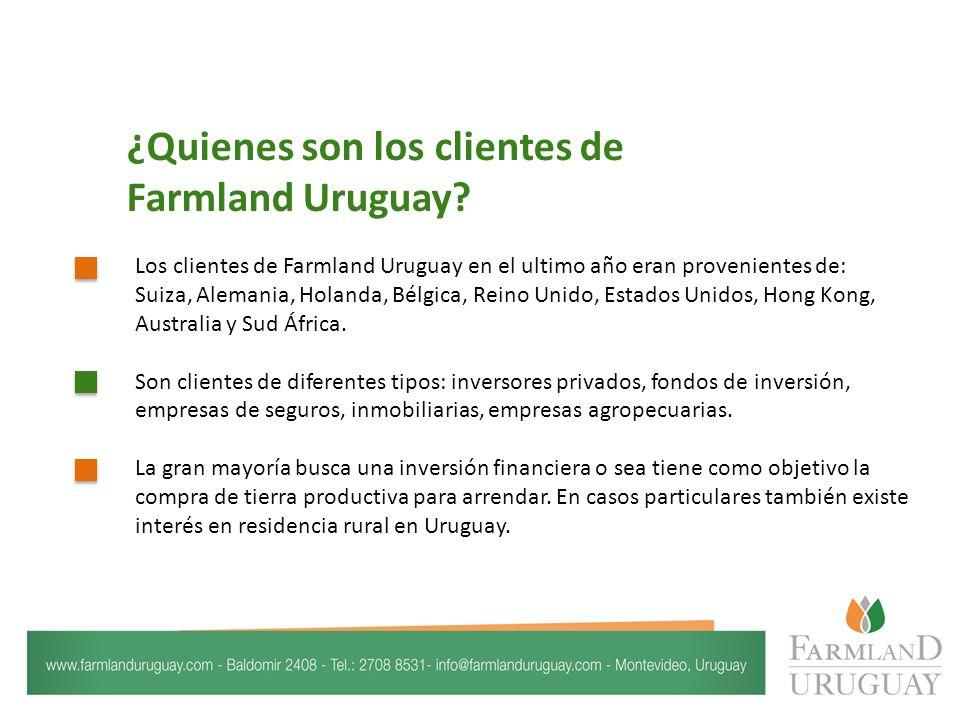 Los clientes de Farmland Uruguay en el ultimo año eran provenientes de: Suiza, Alemania, Holanda, Bélgica, Reino Unido, Estados Unidos, Hong Kong, Australia y Sud África.