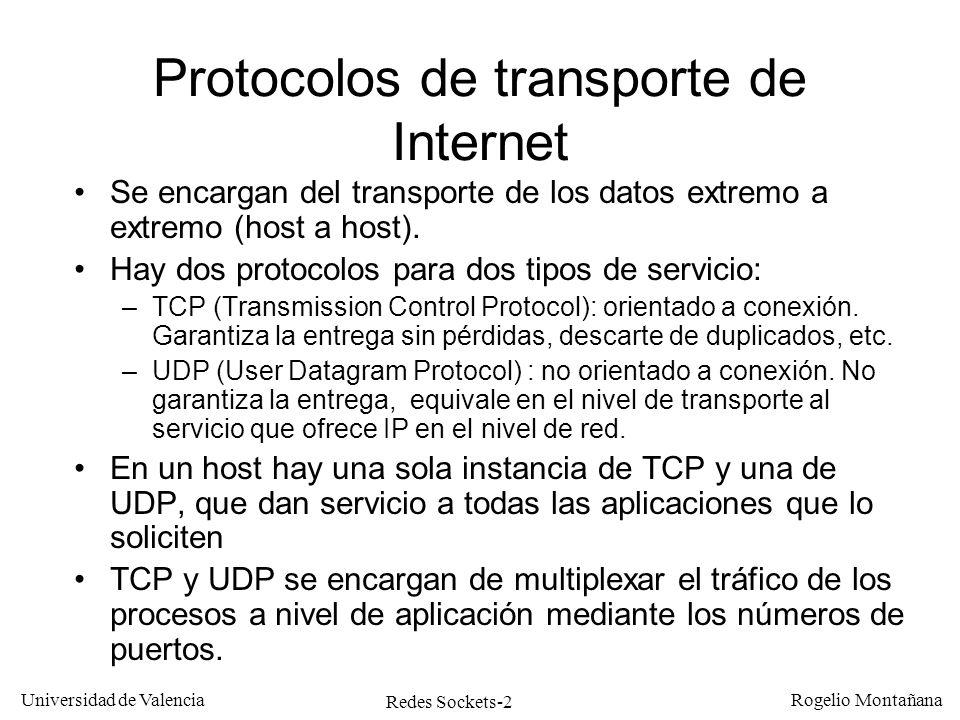 Redes Sockets-33 Universidad de Valencia Rogelio Montañana Programa servidor TCP: escritura en los clientes Tarea: 8: Preparar para escribir 9: Escribir (en todos los clientes) 10: Cerrar la conexión de un cliente select ( maxncon + 1, NULL, &conjunto, NULL, &timeout ) i=0; while (i<*num) { if (FD_ISSET(ncon[i],&conjunto)) cod= write ( ncon[i], buffer,strlen) } i++; close ( ncon[i] ) Conjunto de sockets de escritura