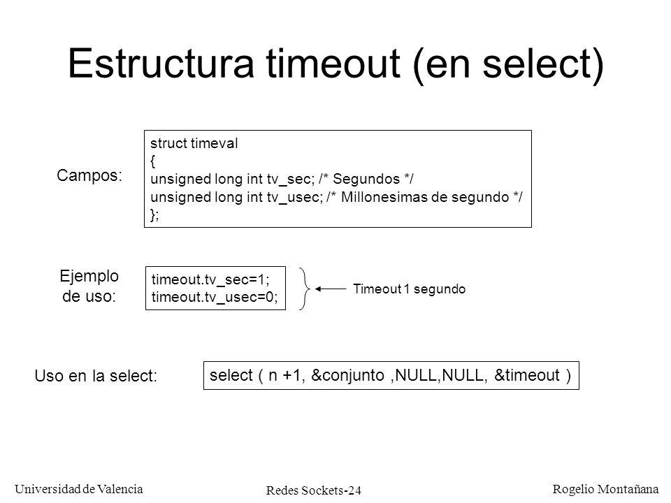 Redes Sockets-24 Universidad de Valencia Rogelio Montañana Estructura timeout (en select) struct timeval { unsigned long int tv_sec; /* Segundos */ un