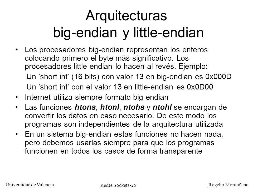Redes Sockets-25 Universidad de Valencia Rogelio Montañana Arquitecturas big-endian y little-endian Los procesadores big-endian representan los entero