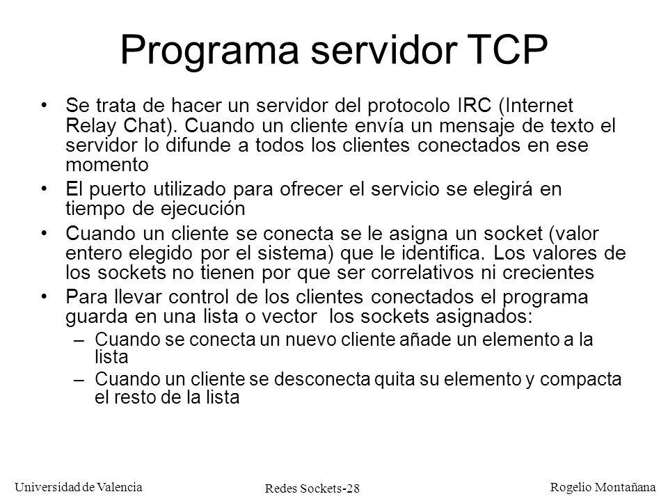 Redes Sockets-28 Universidad de Valencia Rogelio Montañana Programa servidor TCP Se trata de hacer un servidor del protocolo IRC (Internet Relay Chat)