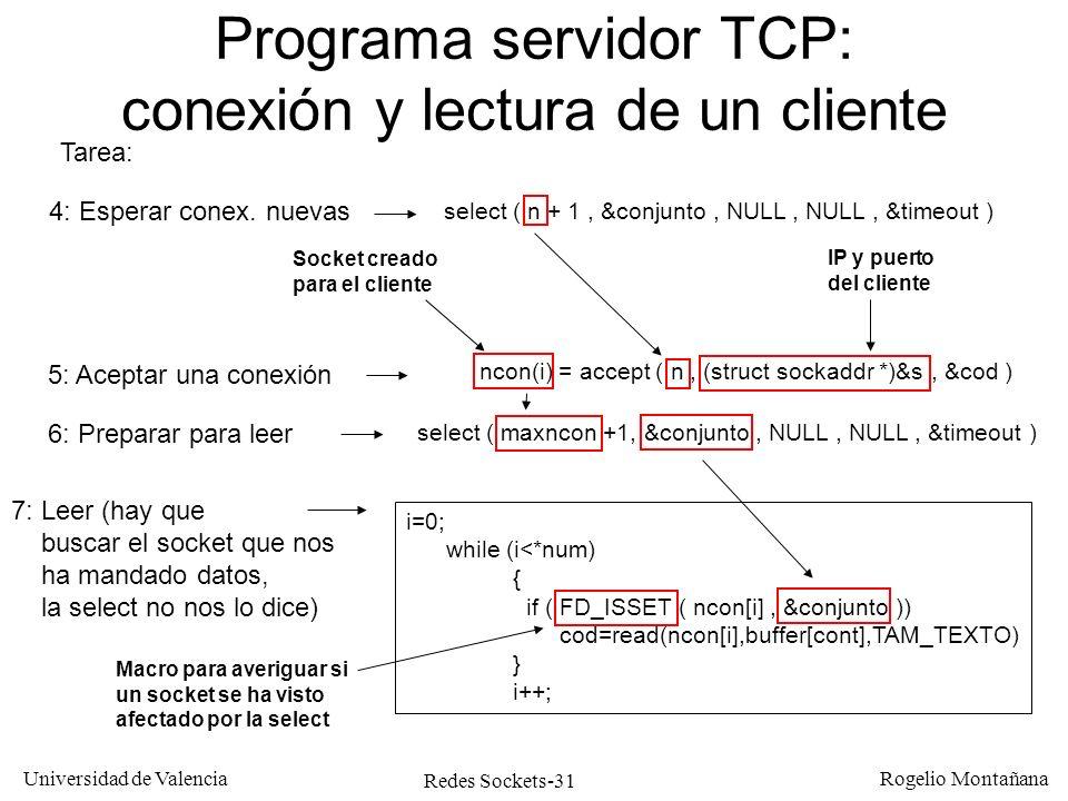 Redes Sockets-31 Universidad de Valencia Rogelio Montañana Programa servidor TCP: conexión y lectura de un cliente Tarea: 4: Esperar conex. nuevas sel