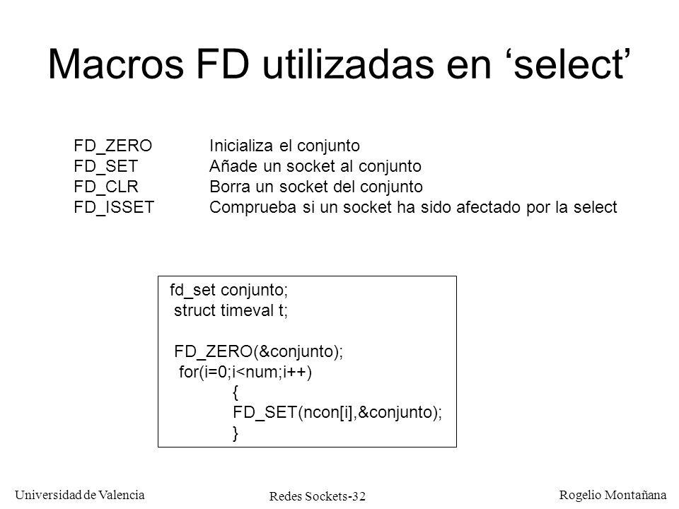 Redes Sockets-32 Universidad de Valencia Rogelio Montañana Macros FD utilizadas en select FD_ZEROInicializa el conjunto FD_SETAñade un socket al conju
