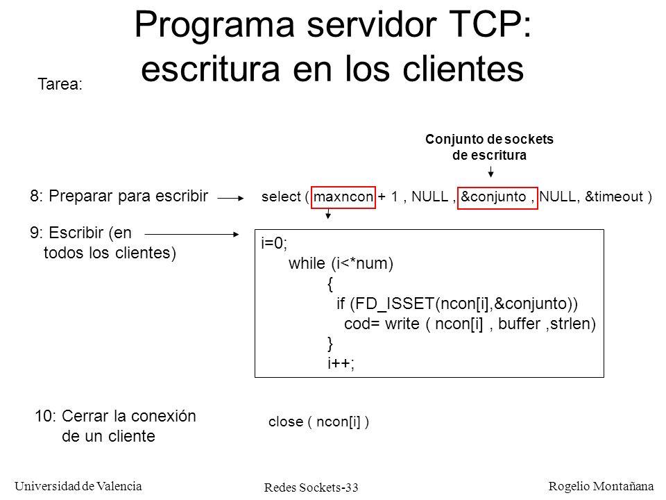 Redes Sockets-33 Universidad de Valencia Rogelio Montañana Programa servidor TCP: escritura en los clientes Tarea: 8: Preparar para escribir 9: Escrib