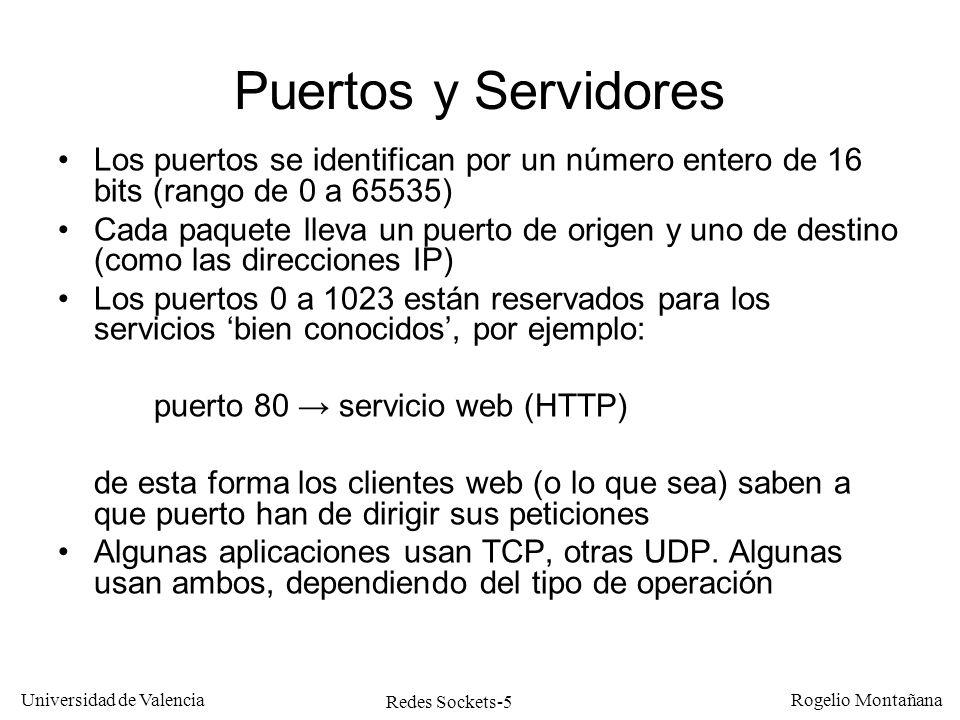 Redes Sockets-6 Universidad de Valencia Rogelio Montañana Algunos servicios bien conocidos ServicioPuertoTCPUDP DayTime13XX FTP21X SSH22X TelNet23X SMTP25X Domain (DNS)53XX BOOTP67X HTTP80X POP3110X NTP123X SNMP161X HTTPS443X