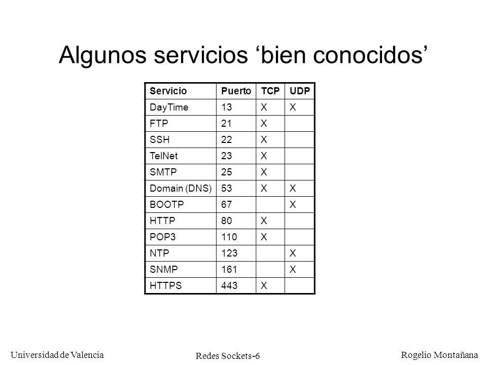 Redes Sockets-17 Universidad de Valencia Rogelio Montañana Porgrama cliente TCP (Daytime) 1: Creamos el socket (no se envía nada) 2: Conectamos con el servidor (se intercambian 6 paquetes) 3: Leemos los datos recibidos (no se envía nada) 4: Cerramos el socket (se intercambian 2 paquetes) n = socket ( PF_INET, SOCK_STREAM, 0) connect ( n, (struct sockaddr *)&s,sizeof(struct sockaddr_in)) read ( n, buffer,TAM_BUFFER) close ( n ) Indica protocolo IP Indica protocolo TCP Valor entero que identifica el socket Dir.