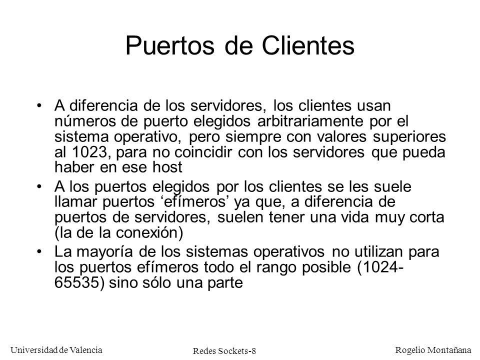 Redes Sockets-29 Universidad de Valencia Rogelio Montañana n = socket ( PF_INET, SOCK_STREAM, 0) INADDR_ANY y puerto Programa servidor TCP: inicialización bind( n, (struct sockaddr *)&s, sizeof(struct sockaddr_in) 2: Asociarle un puerto 1: Crear el socket Tarea: 3: Ponerlo en modo listen listen( n,5) 4: Esperar conex.