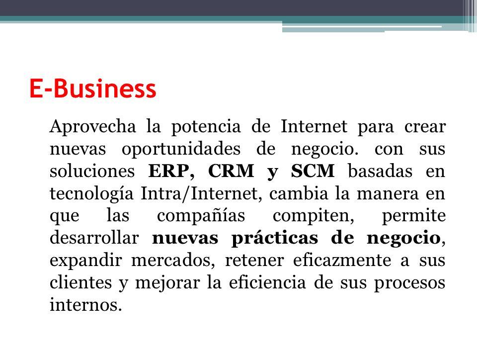 E-Business Aprovecha la potencia de Internet para crear nuevas oportunidades de negocio.