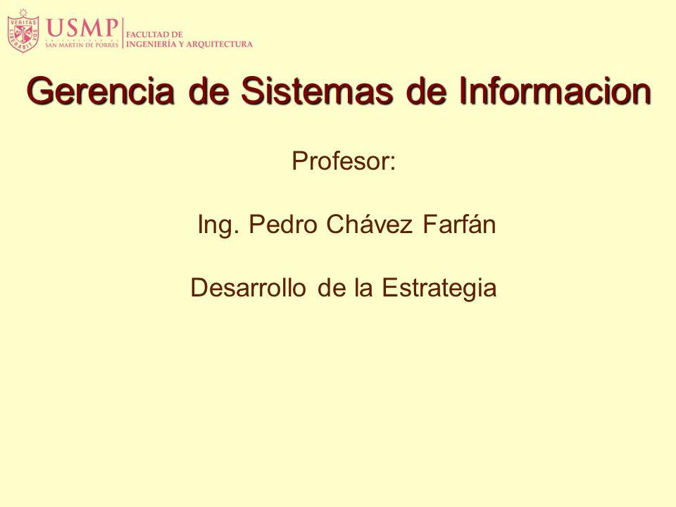 Profesor: Ing. Pedro Chávez Farfán Desarrollo de la Estrategia Gerencia de Sistemas de Informacion