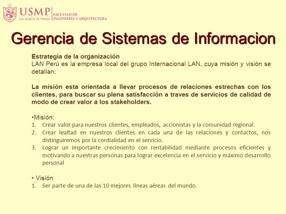 Estrategia de la organización LAN Perú es la empresa local del grupo Internacional LAN, cuya misión y visión se detallan: La misión esta orientada a l
